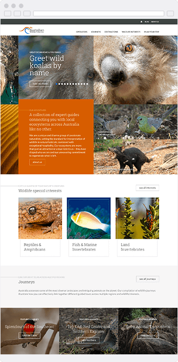 Screenshot of the Australian Wildlife Collection website built using SproutCMS 3.0