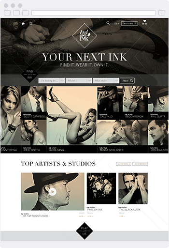 Screenshot of the Find My Ink website built using SproutCMS 3.0