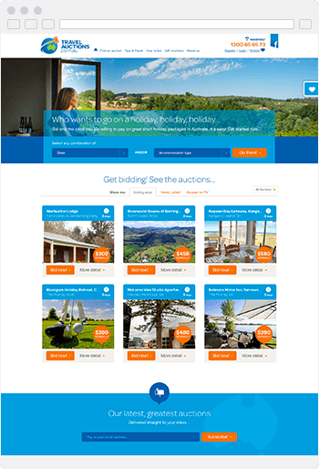 Screenshot of the Travel Auctions website built using SproutCMS 3.0
