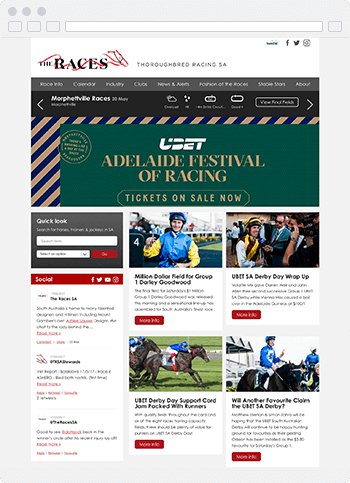 Screenshot of the Thoroughbred Racing SA website built using SproutCMS 3.0